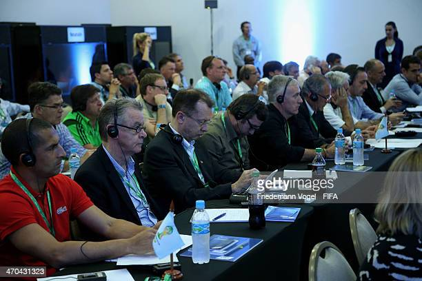 Head coach Ottmar Hitzfeld of Switzerland attends the FIFA Team Workshop for the 2014 FIFA World Cup Brazil on February 19 2014 in Florianopolis...