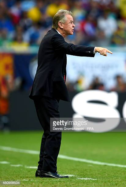 Head coach Ottmar Hitzfeld of Switzerland gestures during the 2014 FIFA World Cup Brazil Group E match between Switzerland and France at Arena Fonte...