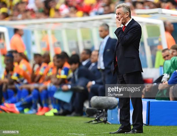 Head coach Ottmar Hitzfeld of Switzerland looks on during the 2014 FIFA World Cup Brazil Group E match between Switzerland and Ecuador at Estadio...