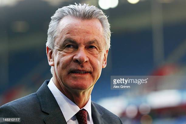 Head coach Ottmar Hitzfeld of Switzerland looks on prior to the international friendly match between Switzerland and Germany at St JakobPark on May...