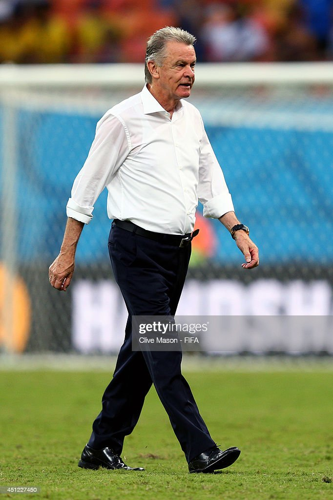 Head coach <a gi-track='captionPersonalityLinkClicked' href=/galleries/search?phrase=Ottmar+Hitzfeld&family=editorial&specificpeople=624332 ng-click='$event.stopPropagation()'>Ottmar Hitzfeld</a> of Switzerland walks off the pitch after the 3-0 win in the 2014 FIFA World Cup Brazil Group E match between Honduras and Switzerland at Arena Amazonia on June 25, 2014 in Manaus, Brazil.