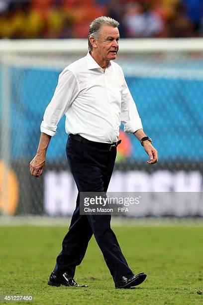 Head coach Ottmar Hitzfeld of Switzerland walks off the pitch after the 30 win in the 2014 FIFA World Cup Brazil Group E match between Honduras and...
