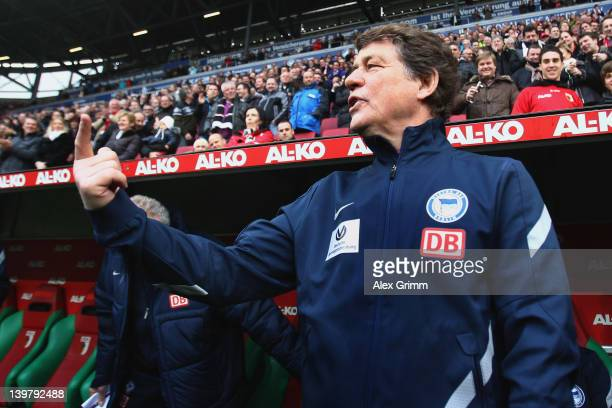 Head coach Otto Rehhagel of Berlin arrives for the Bundesliga match between FC Augsburg and Hertha BSC Berlin at SGL Arena on February 25 2012 in...