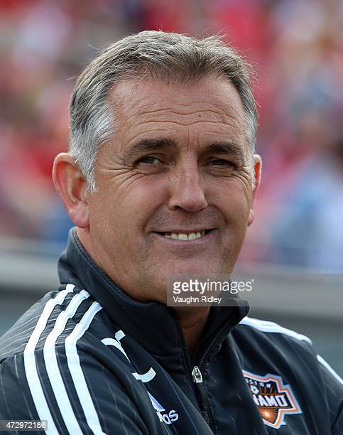 Head Coach Owen Coyle of the Houston Dynamo smiles prior to an MLS soccer game against Toronto FC at BMO Field on May 10 2015 in Toronto Ontario...