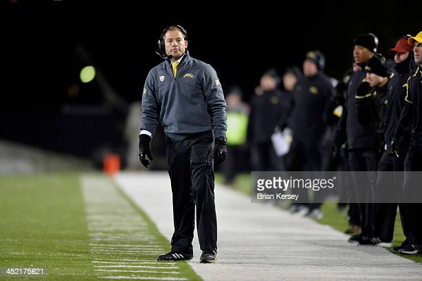 Head coach P J Fleck of the Western Michigan Broncos stands on the sidelines during the third quarter against the Northern Illinois Huskies at Huskie...