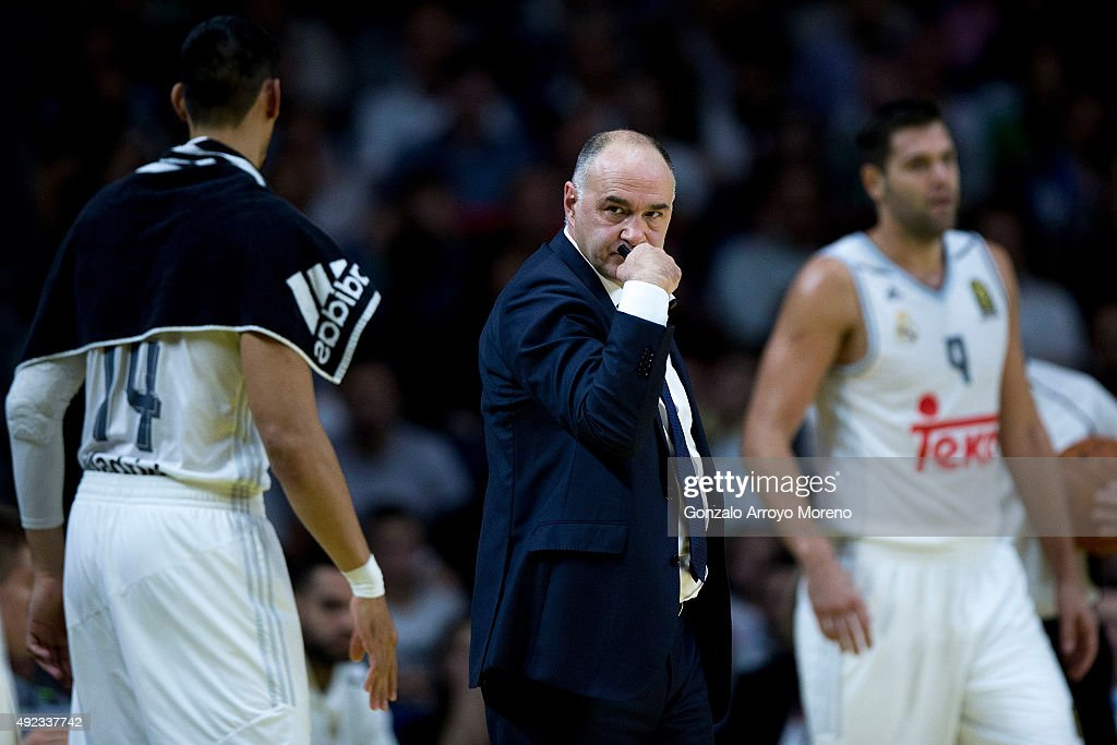 Head coach <a gi-track='captionPersonalityLinkClicked' href=/galleries/search?phrase=Pablo+Laso&family=editorial&specificpeople=8393239 ng-click='$event.stopPropagation()'>Pablo Laso</a> of Real Madrid reacts during the friendlies of the NBA Global Games 2015 basketball match between Real Madrid and Boston Celtics at Barclaycard Center on October 8, 2015 in Madrid, Spain.