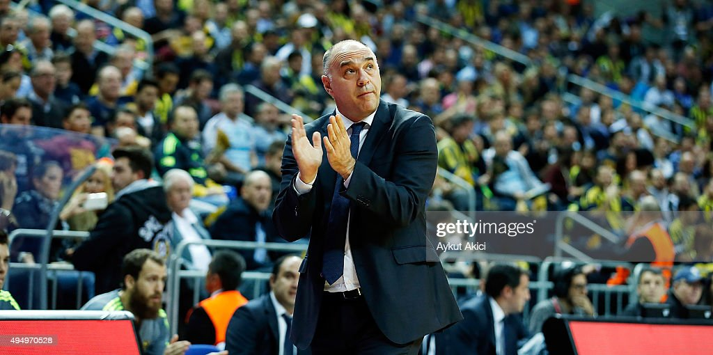 Head coach <a gi-track='captionPersonalityLinkClicked' href=/galleries/search?phrase=Pablo+Laso&family=editorial&specificpeople=8393239 ng-click='$event.stopPropagation()'>Pablo Laso</a> of Real Madrid reacts during the Turkish Airlines Euroleague Regular Season date 3 game between Fenerbahce Istanbul v Real Madrid at Ulker Sports Arena on October 30, 2015 in Istanbul, Turkey.