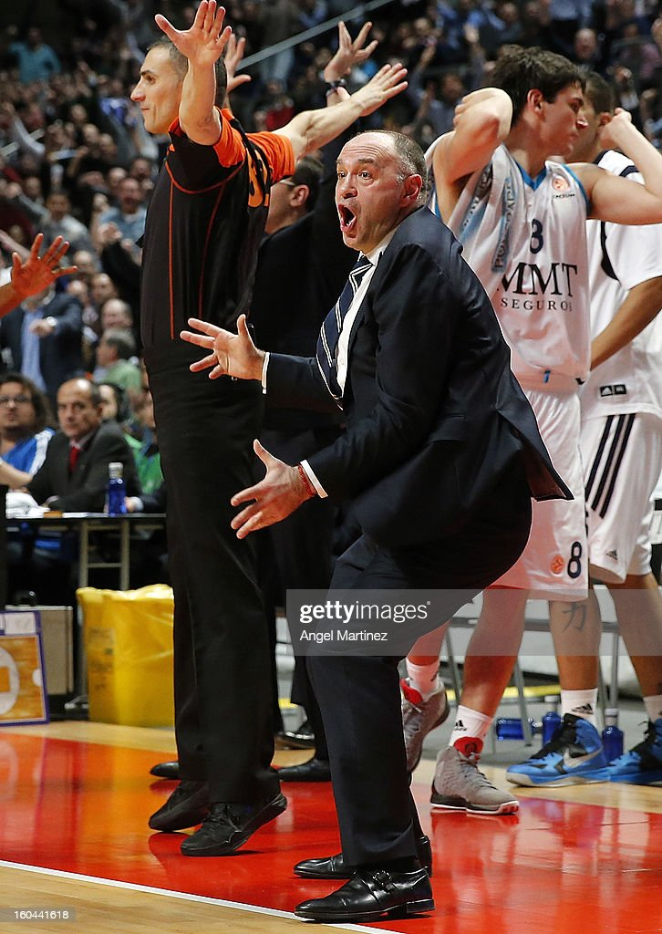 Head coach Pablo Laso of Real Madrid reacts during their the Turkish Airlines Euroleague Top 16 game against CSKA Moscow at Palacio de los Deportes on January 31, 2013 in Madrid, Spain.
