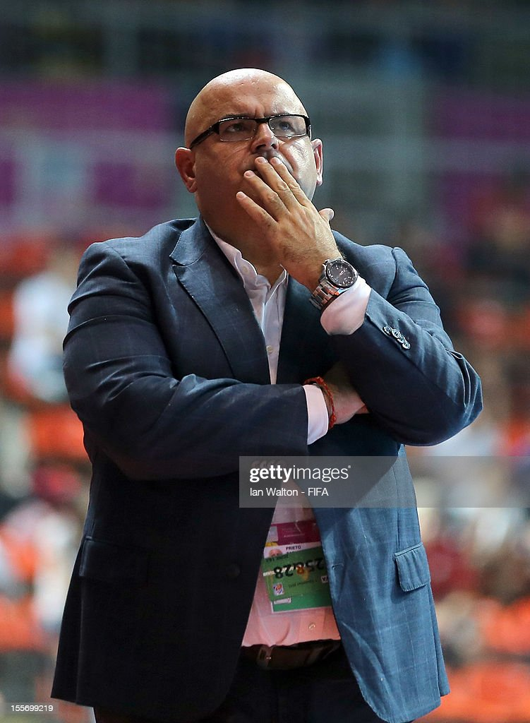 Head coach Pablo Prieto of Libya during the FIFA Futsal World Cup Group C match between Japan and Libya at Indoor Stadium Huamark on November 7, 2012 in Bangkok, Thailand.