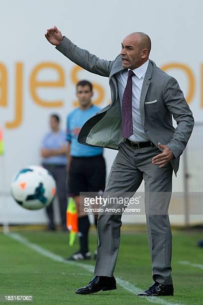 Head coach Paco Jemez of Rayo Vallecano de Madrid gives instructions during the La Liga match between Rayo Vallecano de Madrid and Real Sociedad de...