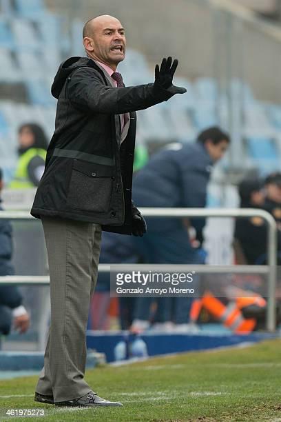 head coach Paco Jemez of Rayo Vallecano de Madrid gives instructions during the La Liga match between Getafe CF and Rayo Vallecano de Madrid at...