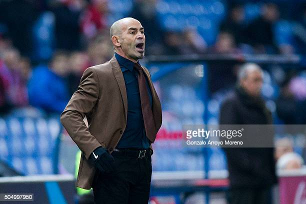 Head coach Paco Jemez of Rayo Vallecano de Madrid gives instructions during the Copa del Rey Round of 16 second leg match between Club Atletico...