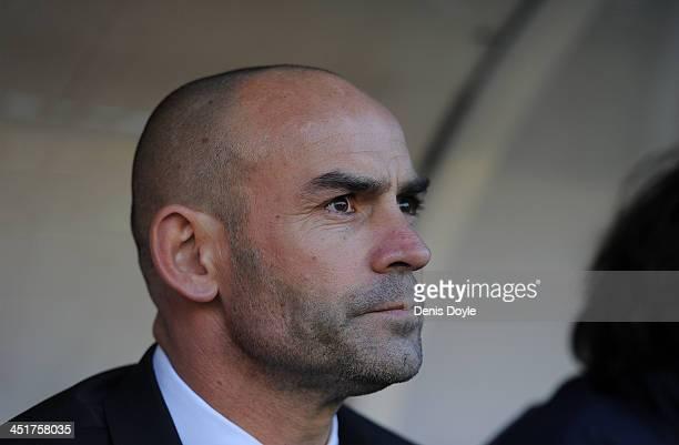 Head coach Paco Jemez of Rayo Vallecano de Madrid looks on prior to the start of the La Liga match between Rayo Vallecano de Madrid and RCD Espanyol...