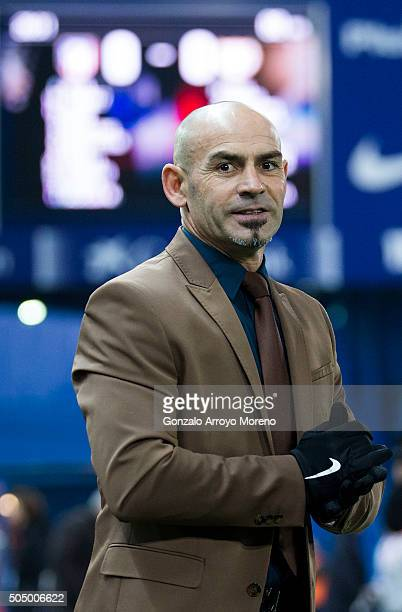 Head coach Paco Jemez of Rayo Vallecano de Madrid looks on prior to start the Copa del Rey Round of 16 second leg match between Club Atletico Madrid...