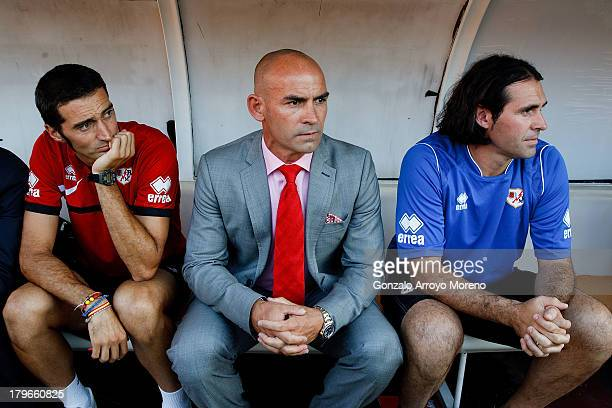 head coach Paco Jemez of Rayo Vallecano de Madrid sitted on the bench with his technical staff prior to start the La Liga match between Rayo...