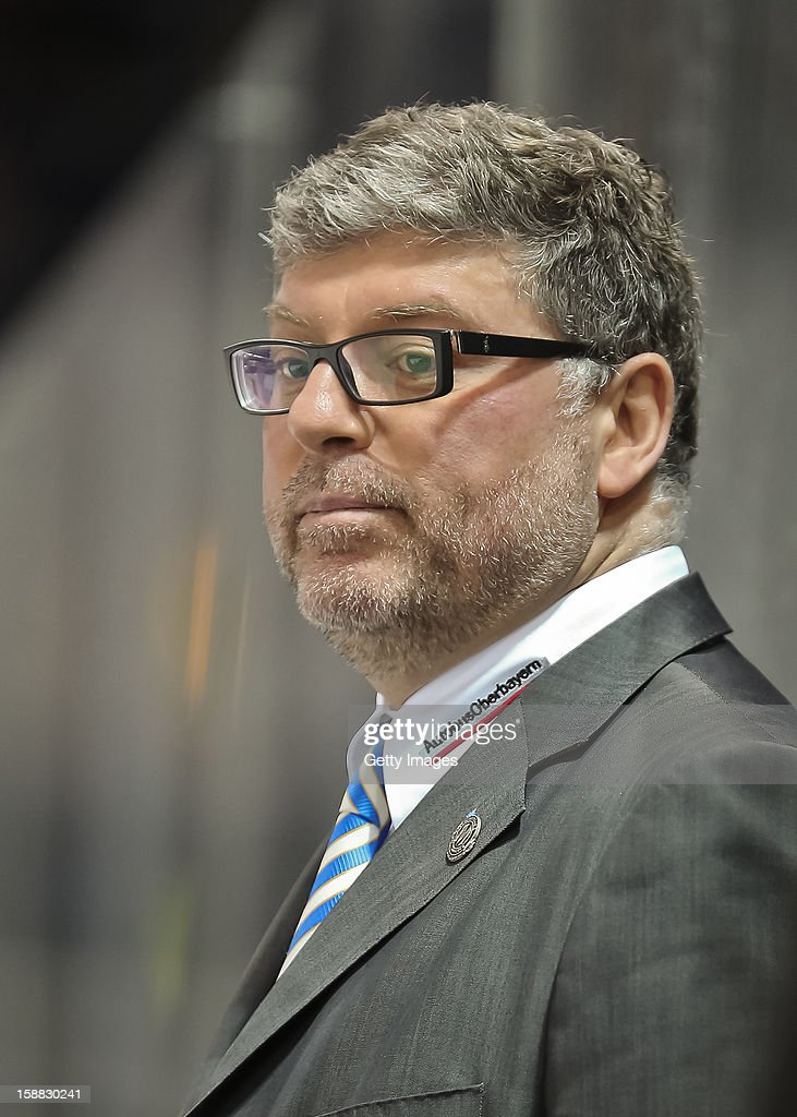 Head coach Pad Cortina of EHC Red Bull Muenchen at Olympia Eishalle on December 28, 2012 in Munich, Germany.