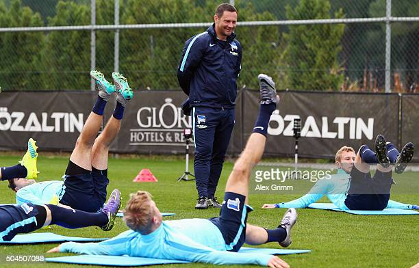 Head coach Pal Dardai looks on during a Hertha BSC Berlin training session on day 6 of the Bundesliga Belek training camps at Gloria Sports Center on...