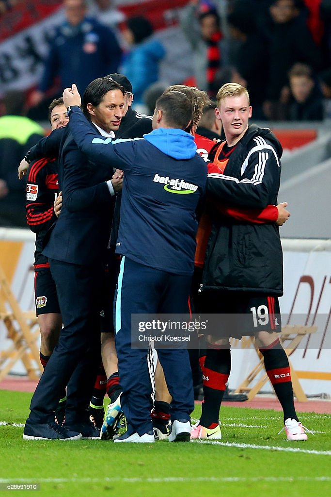 Head coach <a gi-track='captionPersonalityLinkClicked' href=/galleries/search?phrase=Pal+Dardai&family=editorial&specificpeople=604310 ng-click='$event.stopPropagation()'>Pal Dardai</a> of Berlin (R) congratulates head coach <a gi-track='captionPersonalityLinkClicked' href=/galleries/search?phrase=Roger+Schmidt+-+Soccer+Manager&family=editorial&specificpeople=13515848 ng-click='$event.stopPropagation()'>Roger Schmidt</a> of Leverkusen (L) after the Bundesliga match between Bayer Leverkusen and Hertha BSC Berlin at BayArena on April 30, 2016 in Leverkusen, Germany. The match between Leverkusen and Belrin ended 2-1.