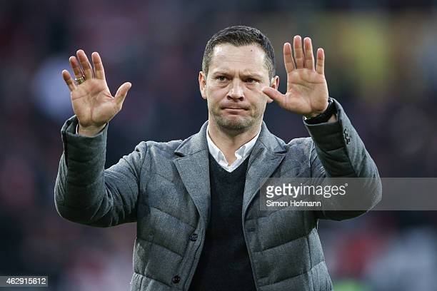 Head coach Pal Dardai of Berlin gestures after the Bundesliga match between 1 FSV Mainz 05 and Hertha BSC at Coface Arena on February 7 2015 in Mainz...