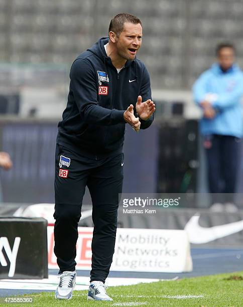 Head coach Pal Dardai of Berlin gestures during the Bundesliga match between Hertha BSC and Eintracht Frankfurt at Olympiastadion on May 16 2015 in...
