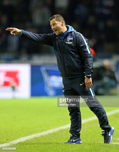 Head coach Pal Dardai of Berlin gestures during the Bundesliga match between Hertha BSC and Bayer Leverkusen at Olympiastadion on December 5 2015 in...