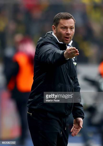 Head coach Pal Dardai of Berlin is seen during the Bundesliga match between Hertha BSC and Borussia Dortmund at Olympiastadion on March 11 2017 in...
