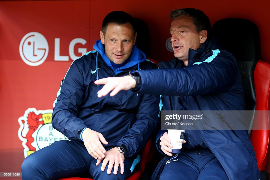 Head coach <a gi-track='captionPersonalityLinkClicked' href=/galleries/search?phrase=Pal+Dardai&family=editorial&specificpeople=604310 ng-click='$event.stopPropagation()'>Pal Dardai</a> of Berlin (L) is seen prior to the Bundesliga match between Bayer Leverkusen and Hertha BSC Berlin at BayArena on April 30, 2016 in Leverkusen, Germany. The match between Leverkusen and Berlin ended 2-1.