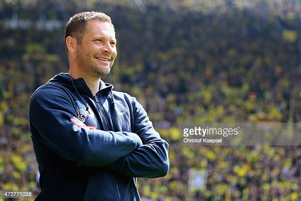 Head coach Pal Dardai of Berlin looks on prior to the Bundesliga match between Borussia Dortmund and Hertha BSC Bwerlin at Signal Iduna Park on May 9...