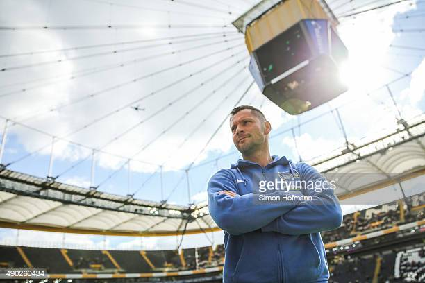 Head coach Pal Dardai of Berlin looks on prior to the Bundesliga match between Eintracht Frankfurt and Hertha BSC at CommerzbankArena on September 27...