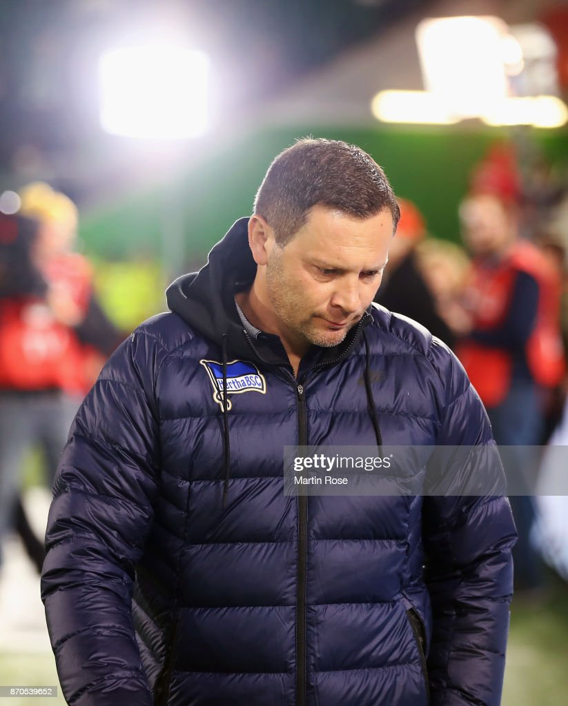 Head coach Pal Dardai of Berlin looks on prior to the Bundesliga match between VfL Wolfsburg and Hertha BSC at Volkswagen Arena on November 5, 2017 in Wolfsburg, Germany.