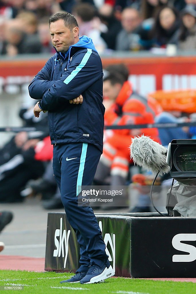 Head coach Pal Dardai of Berlin looks thoughtful during the Bundesliga match between Bayer Leverkusen and Hertha BSC Berlin at BayArena on April 30, 2016 in Leverkusen, Germany.