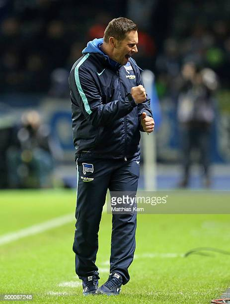 Head coach Pal Dardai of Berlin shows his delight after winning the Bundesliga match between Hertha BSC and Bayer Leverkusen at Olympiastadion on...