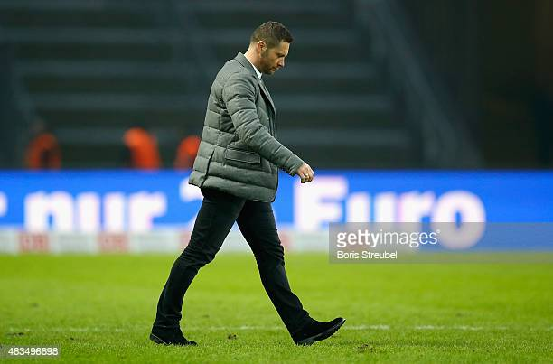 Head coach Pal Dardai of Berlin walks of the pitch after losing the Bundesliga match between Hertha BSC and SC Freiburg at Olympiastadion on February...