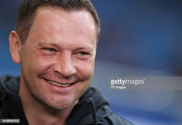 Head coach Pal Dardai of Hertha BSC Berlin laughs during the Bundesliga match between Hamburger SV and Hertha BSC at Volksparkstadion on March 5 2017...