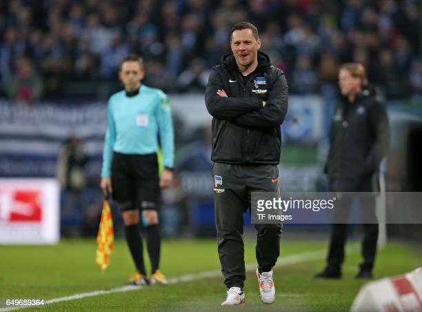 Head coach Pal Dardai of Hertha BSC Berlin looks on during the Bundesliga match between Hamburger SV and Hertha BSC at Volksparkstadion on March 5...