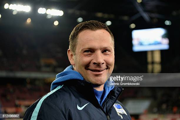 Head coach Pal Dardai of Hertha BSC looks on prior to kickoff during the Bundesliga match between 1 FC Koeln and Hertha BSC at RheinEnergieStadion on...