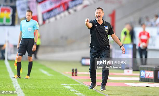 Head coach Pal Dardai of Hertha BSC reacts during to the Bundesliga match between Eintracht Frankfurt and Hertha BSC at CommerzbankArena on September...