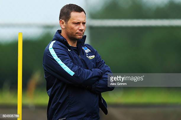 Head coach Pal Dardai reacts during a Hertha BSC Berlin training session on day 6 of the Bundesliga Belek training camps at Gloria Sports Center on...