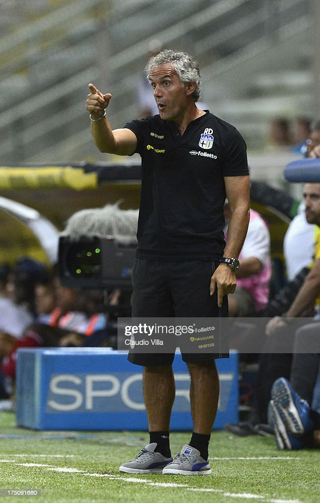 Head coach Parma FC <a gi-track='captionPersonalityLinkClicked' href=/galleries/search?phrase=Roberto+Donadoni&family=editorial&specificpeople=654860 ng-click='$event.stopPropagation()'>Roberto Donadoni</a> reacts during the pre-season friendly match between Parma FC and Olympique Marseille at Stadio Ennio Tardini on July 31, 2013 in Parma, Italy.
