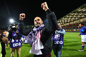 Head Coach Pascal Dupraz of Toulouse celebrates after the football french Ligue 1 match between Angers SCO and Toulouse FC on May 14 2016 in Angers...