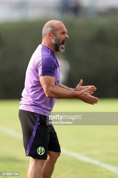 Head coach Pascal Dupraz of Toulouse during the friendly match between Toulouse FC and Deportivo Alaves on July 19 2017 in Saint Jean de Luz France