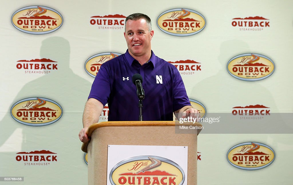 Head coach <a gi-track='captionPersonalityLinkClicked' href=/galleries/search?phrase=Pat+Fitzgerald&family=editorial&specificpeople=877167 ng-click='$event.stopPropagation()'>Pat Fitzgerald</a> of Northwestern Wildcats talks after the loss to the Tennessee Volunteers in the Outback Bowl at Raymond James Stadium on January 1, 2016 in Tampa, Florida.