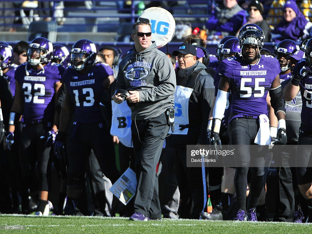 Head coach <a gi-track='captionPersonalityLinkClicked' href=/galleries/search?phrase=Pat+Fitzgerald&family=editorial&specificpeople=877167 ng-click='$event.stopPropagation()'>Pat Fitzgerald</a> of the Northwestern Wildcats coaches against the Purdue Boilermakers during the first quarter on November 14, 2015 at Ryan Field in Evanston, Illinois.