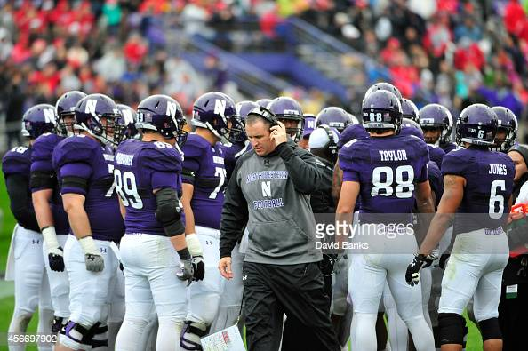 Head coach Pat Fitzgerald of the Northwestern Wildcats during a game against the Wisconsin Badgers on October 4 2014 at Ryan Field in Evanston...