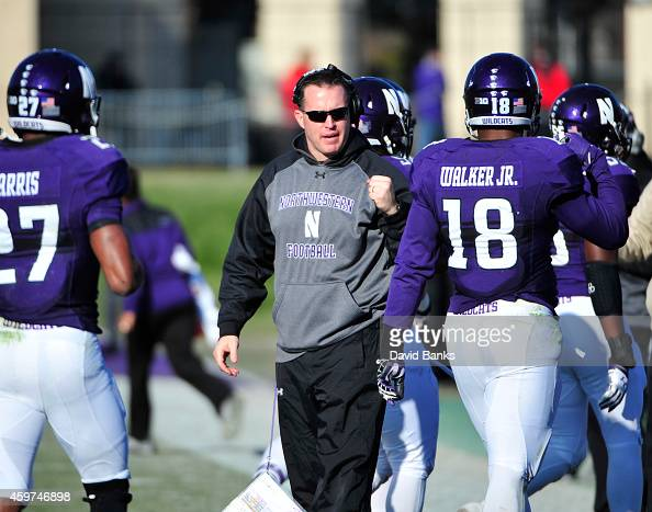 Head coach Pat Fitzgerald of the Northwestern Wildcats during the second half of a game against the Illinois Fighting Illini on November 29 2014 at...