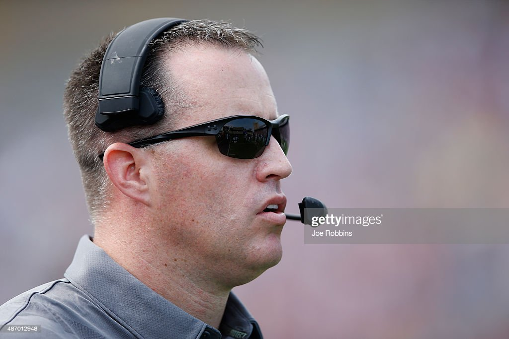 Head coach <a gi-track='captionPersonalityLinkClicked' href=/galleries/search?phrase=Pat+Fitzgerald&family=editorial&specificpeople=877167 ng-click='$event.stopPropagation()'>Pat Fitzgerald</a> of the Northwestern Wildcats looks on against the Stanford Cardinal in the first half at Ryan Field on September 5, 2015 in Evanston, Illinois.