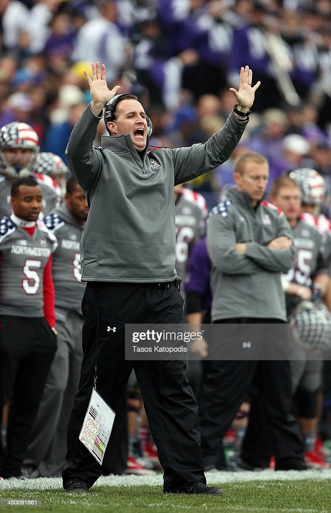 Head Coach Pat Fitzgerald of the Northwestern Wildcats reacts during play against the Michigan Wolverines at Ryan Field on November 16, 2013 in Evanston, Illinois.