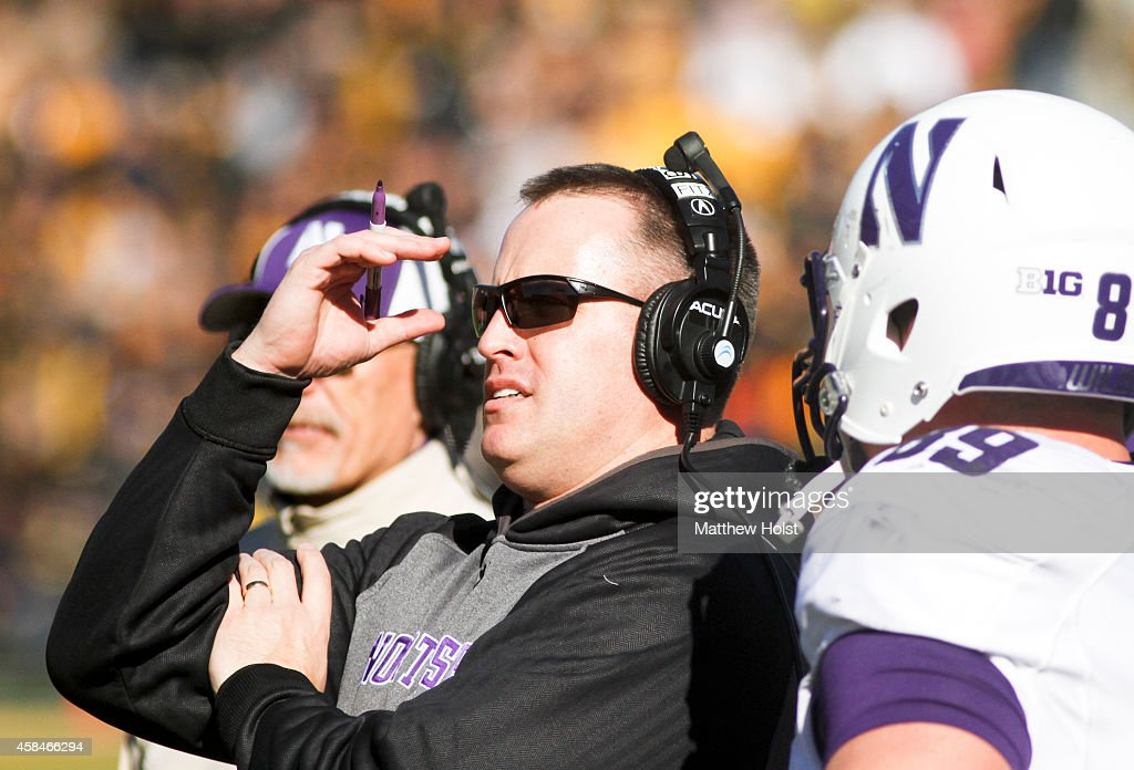 Head coach <a gi-track='captionPersonalityLinkClicked' href=/galleries/search?phrase=Pat+Fitzgerald&family=editorial&specificpeople=877167 ng-click='$event.stopPropagation()'>Pat Fitzgerald</a> of the Northwestern Wildcats reacts on the sidleines in the first quarter against the Iowa Hawkeyes on November 1, 2014 at Kinnick Stadium in Iowa City, Iowa.