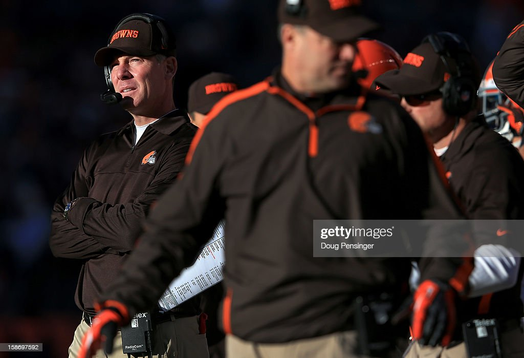 Head coach <a gi-track='captionPersonalityLinkClicked' href=/galleries/search?phrase=Pat+Shurmur&family=editorial&specificpeople=763455 ng-click='$event.stopPropagation()'>Pat Shurmur</a> (L) of the Cleveland Browns leads his team against the Denver Broncos Sports Authority Field at Mile High on December 23, 2012 in Denver, Colorado. The Broncos defeated the Browns 34-12.