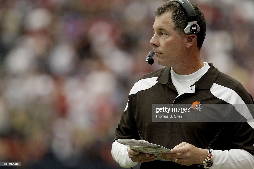 Head coach Pat Shurmur of the Cleveland Browns tries to figure out the Houston Texans defense on November 6, 2011 at Reliant Stadium in Houston, Texas.